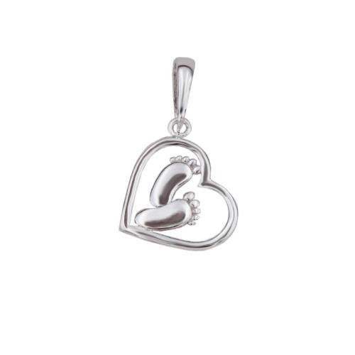 Сребърен Медальон във Формата На Сърце с Две Бебешки Стъпки 7239