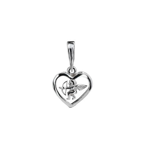 Сребърен Медальон във Формата На Сърце с Ангелче 7240