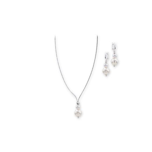 Колие и обеци с перли от Swarovski® и сребърни елементи PP10