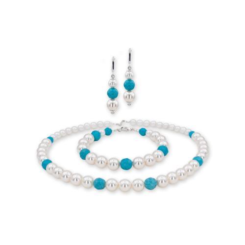 Колие, обеци и гривна с перли от Swarovski® и сребърни елементи PP11