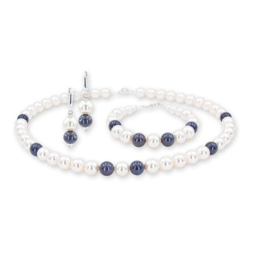 Колие, обеци и гривна с перли от Swarovski® с Авантюрин и сребърни елементи PP1