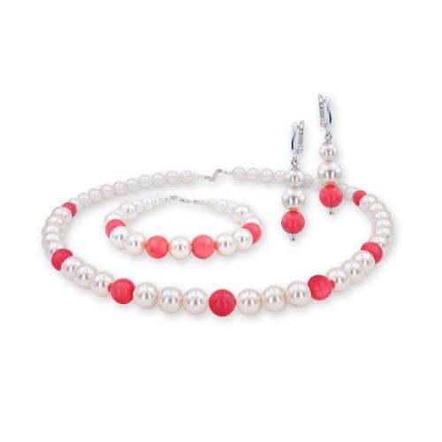 Колие, обеци и гривна с перли от Swarovski® с Корал и сребърни елементи PP2