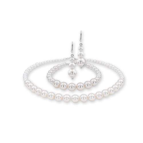 Колие, обеци и гривна с перли от Swarovski® и сребърни елементи PP4