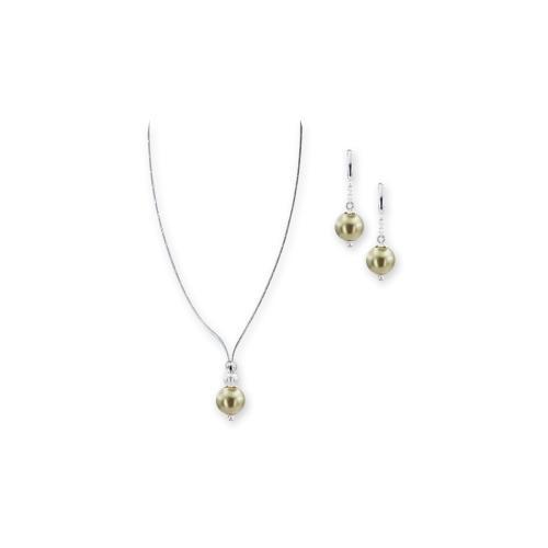 Колие и обеци с перли от Swarovski® и сребърни елементи PP8