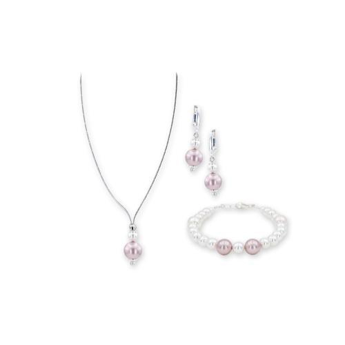 Колие, обеци и гривна с перли от Swarovski® и сребърни елементи PP9