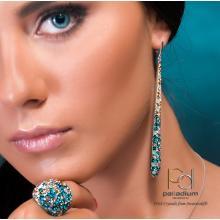 Сребърни обеци с кристали от Swarovski® SO370 Blue Zircon and Golden Shadow