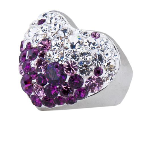 Сребърен пръстен с кристали от Swarovski® SP630 Crystal and Amethyst