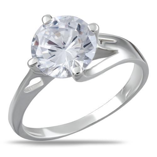 Сребърен пръстен сърце с циркон