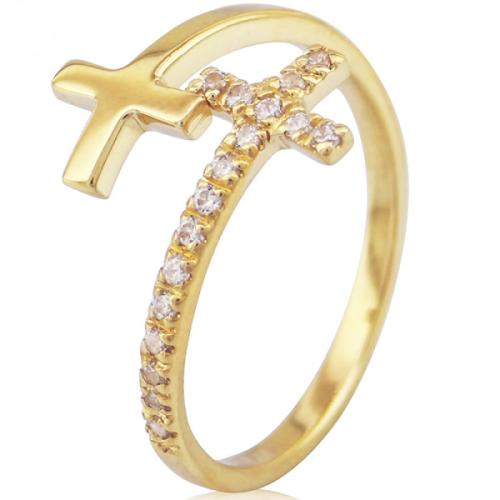 """Дамски златен пръстен """"Cross"""""""