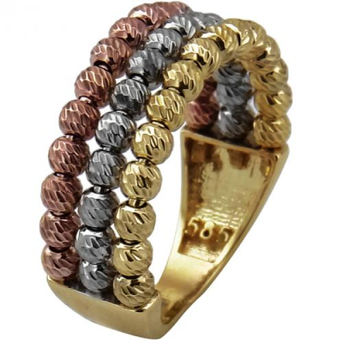 "Дамски златен пръстен ""Tricolore"""