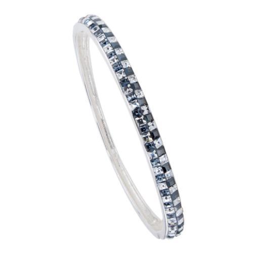 Сребърна гривна с кристали от Swarovski® SG410 Crystal, Hematite and Steel квадрати