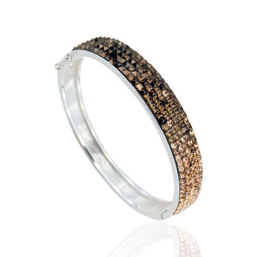 Сребърна гривна с кристали от Swarovski® SG417 Topaz Квадрати