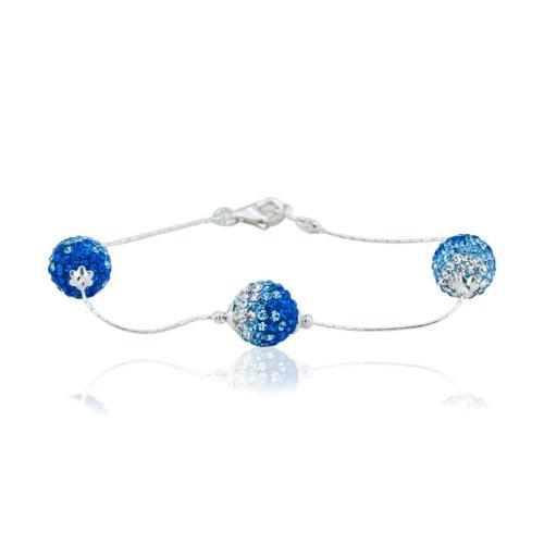 Сребърна Гривна С Кристали От Swarovski® SG419 Sapphire, Light Sapphire and Light Azore
