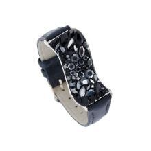 Сребърна гривна с кристали от Swarovski® SG427 Black and White квадрати с черна кожена верижка