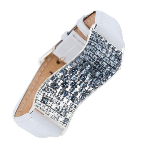 Сребърна гривна с кристали от Swarovski® SG427 Crystal and Steel квадрати с бяла кожена верижка