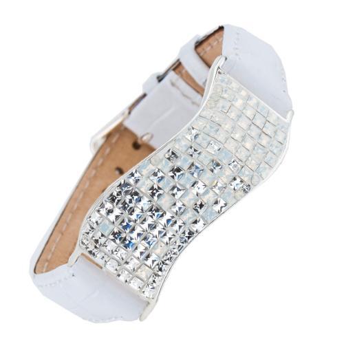 Сребърна гривна с кристали от Swarovski® SG427 Crystal and White Opal квадрати с бяла кожена верижка