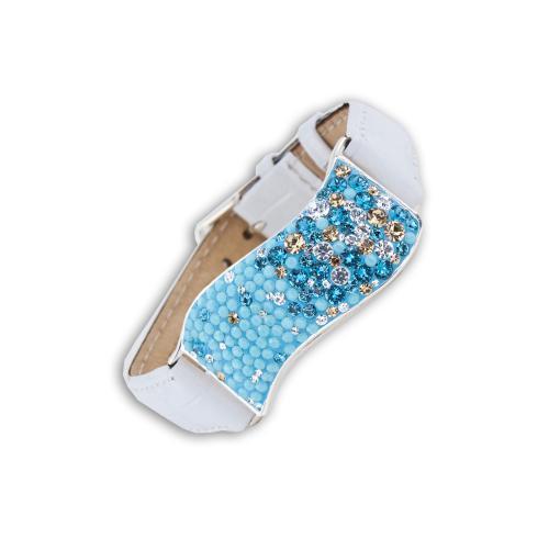 Сребърна гривна с кристали от Swarovski® SG427 Yacht Blue с бяла кожена верижка
