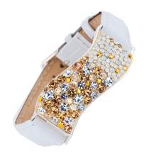 Сребърна гривна с кристали от Swarovski® SG427 SIlver Shade с бяла кожена верижка