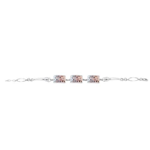 Сребърна гривна с кристали от Swarovski® SG429 Crystal, Light Peach and Rose Gold квадрати