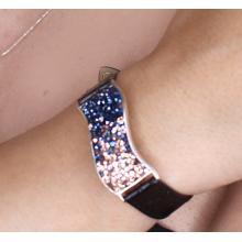 Сребърна гривна с кристали от Swarovski® SG427 Metallic Rose Gold с черна кожена верижка