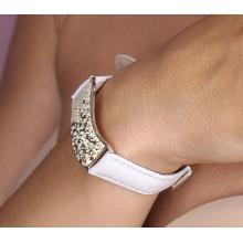 Сребърна гривна с кристали от Swarovski® SG427 Vintage с бяла кожена верижка