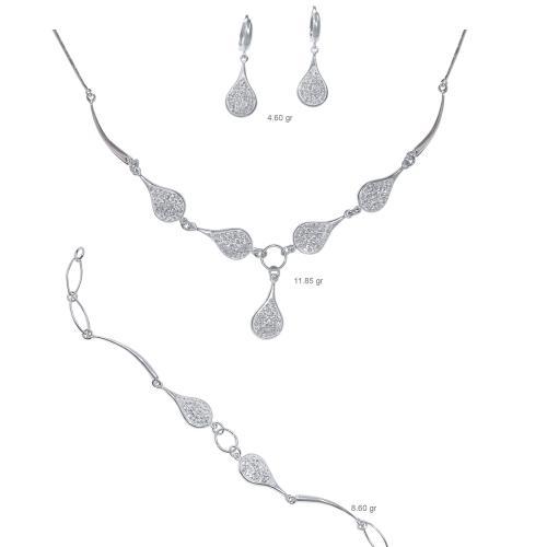 Сребърен комплект колие, гривна и обеци с кристали от Swarovski® SK500