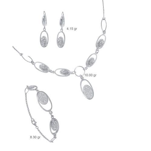 Сребърен комплект колие, гривна и обеци с кристали от Swarovski® SK501