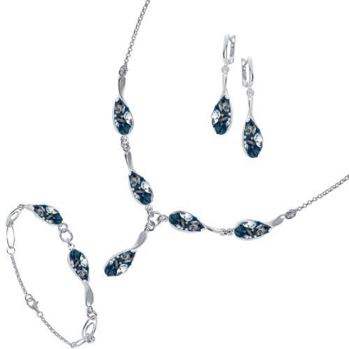 Сребърен комплект колие, гривна и обеци с кристали от Swarovski® SK504 Royal