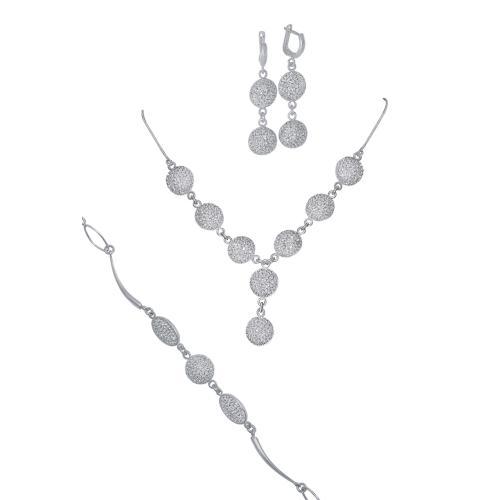 Сребърен комплект колие, гривна и обеци с кристали от Swarovski® SK507