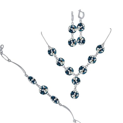Сребърен комплект колие, гривна и обеци с кристали от Swarovski® SK507 Royal