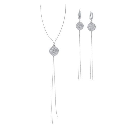 Сребърен комплект колие и обеци с кристали от Swarovski® SK509 Crystal