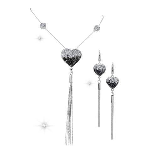 Сребърен комплект колие и обеци с кристали от Swarovski® SK514