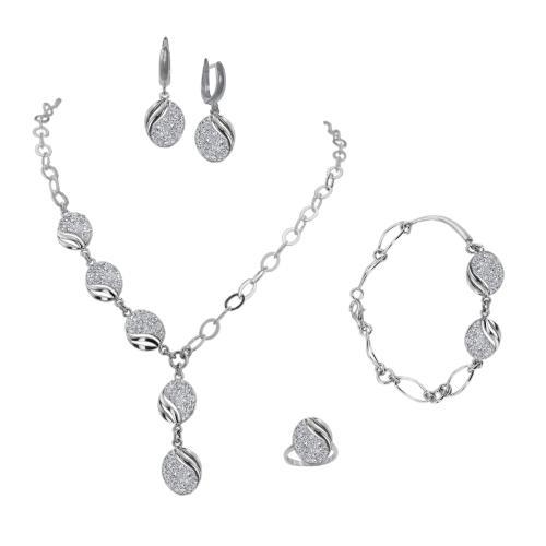 Сребърен комплект колие, гривна, обеци и пръстен с кристали от Swarovski® SK515