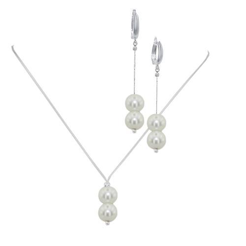 Сребърен комплект колие и обеци с кристали от Swarovski® SK519
