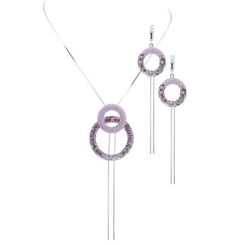 Сребърен комплект колие и обеци с кристали от Swarovski® SK521 Marilyn