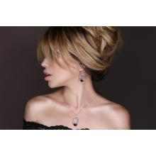 Сребърен комплект обеци и медальон с кристали от Swarovski® SKM129 Black Magic