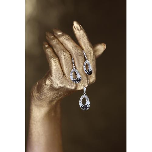 Сребърен комплект обеци и медальон с кристали от Swarovski® SKM107 Crystal, White Opal, Hematite