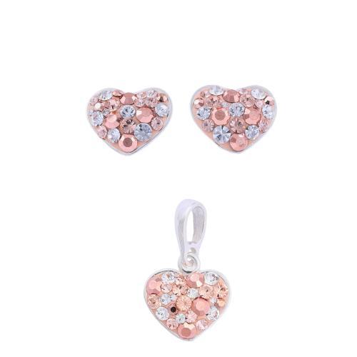 Сребърен комплект обеци и медальон с кристали от Swarovski® SKM120 Peach Gold