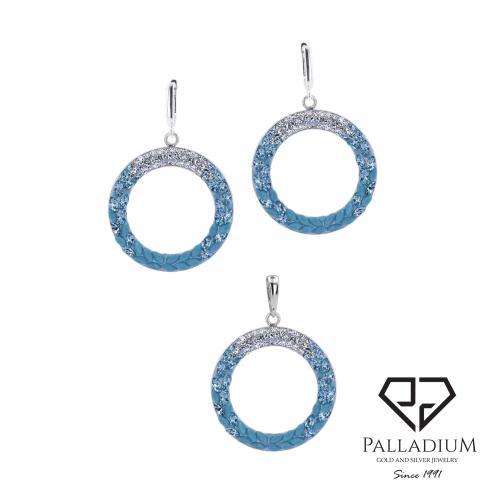 Сребърен комплект обеци и медальон с кристали от Swarovski® SKM127 Blue Drops