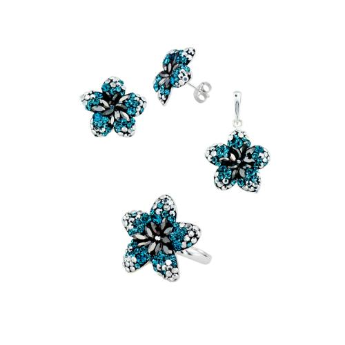 Сребърен комплект обеци, медальон и пръстен с кристали от Swarovski® SKM144 Indicolite, Hematite, Labrador
