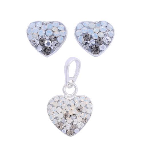 Сребърен Комплект Обеци И Медальон С Кристали От Swarovski® SKM152 Silver SHade