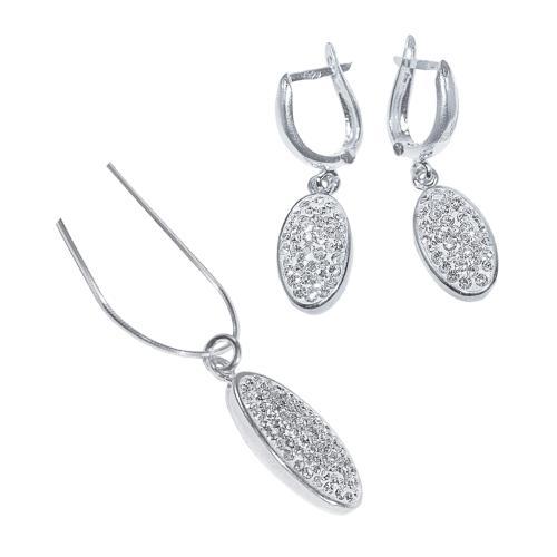 Сребърен комплект обеци и медальон с кристали от Swarovski® SKM100