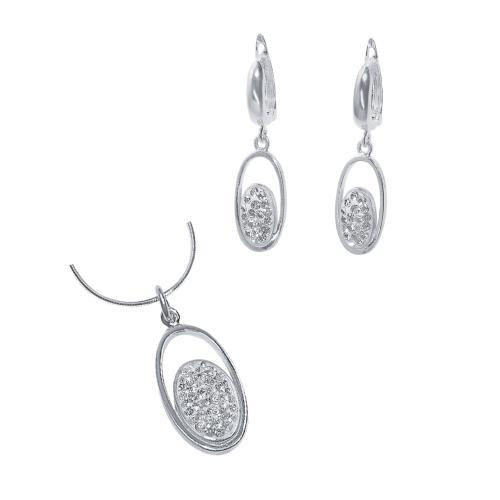 Сребърен комплект обеци и медальон с кристали от Swarovski® SKM101