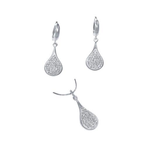 Сребърен комплект обеци и медальон с кристали от Swarovski® SKM103 Crystal