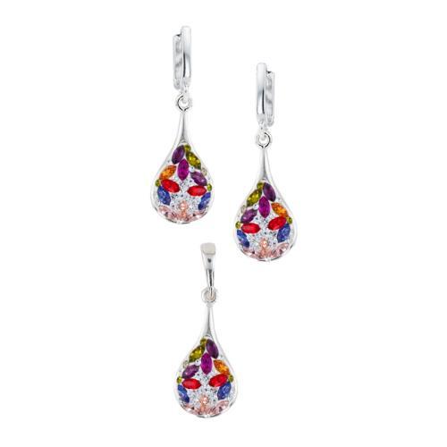 Сребърен Комплект Обеци И Медальон С Кристали От Swarovski® SKM103 Colorful Drops