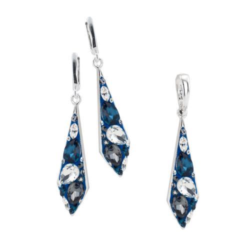 Сребърен комплект обеци и медальон с кристали от Swarovski® SKM104 Royal
