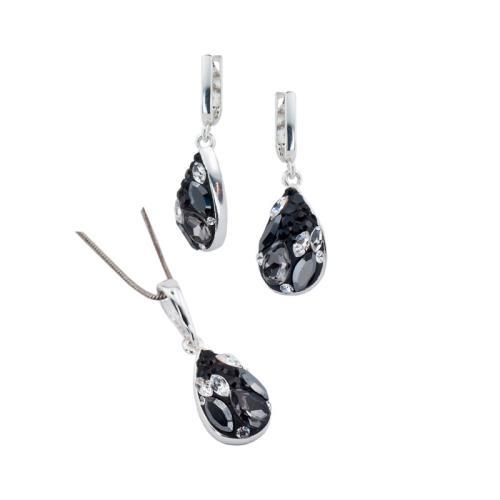 Сребърен Комплект Обеци И Медальон С Кристали От Swarovski® SKM105 Black Marquise