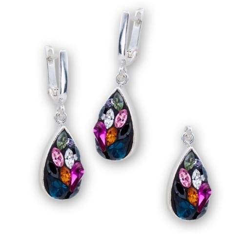 Сребърен комплект обеци и медальон с кристали от Swarovski® SKM105 Color Drops
