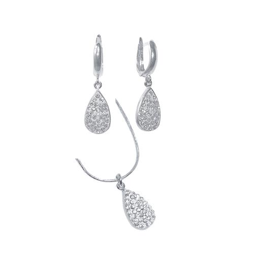 Сребърен комплект обеци и медальон с кристали от Swarovski® SKM105 Crystal