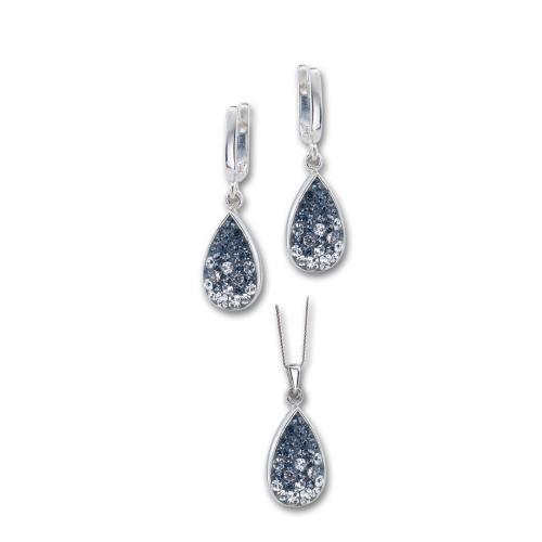 Сребърен комплект обеци и медальон с кристали от Swarovski® SKM105 Steel and Crystal